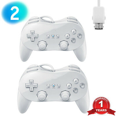 2x Pro Classic Joypad Wired Controller Remote for Nintendo Wii&Wii U WHITE