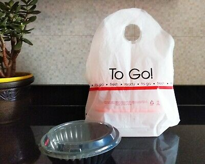 """Take-Out Plastic T-Shirt Bags for Restaurants 100% """"Biodegradable & Recyclable"""