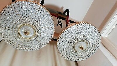 2 Elegant Beautiful Vintage Brass & Crystal 6 Bulb Basket Chandelier Lights