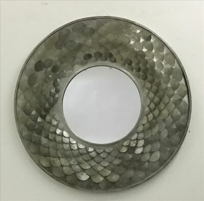 Large Mermaid Round Wall Metal Mirror Home Decor Hanging Glass PEWTER 108X108CM
