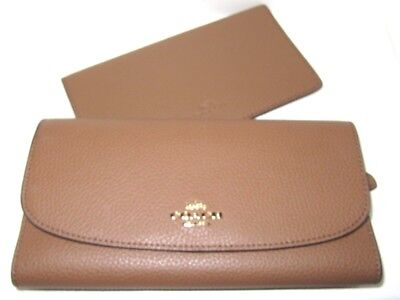 8bd4852dc319 Coach saddle Pebbled Leather Checkbook Wallet F16613 Authentic New NWT  250