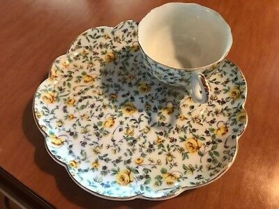 Yada china yellow chintz snack set 12 pairs