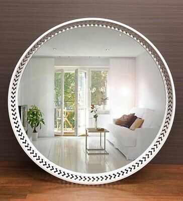 Large Luxor Round Wall Metal Mirror Home Decor Hanging Glass WHITE 100x100CM