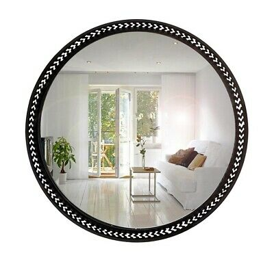 Large Luxor Round Wall Metal Mirror Home Decor Hanging Glass BLACK 100x100CM