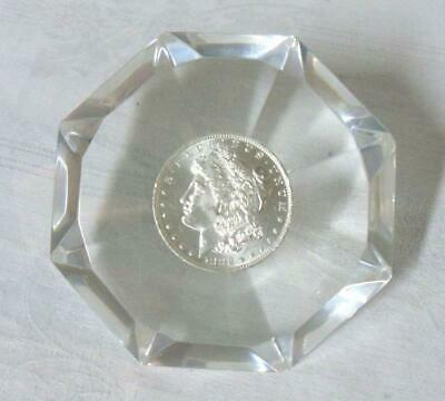 1882 Morgan Silver Dollar Embedded Lucite Paperweight