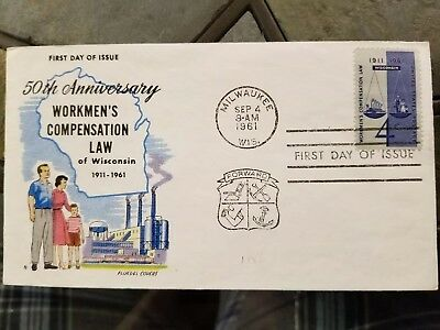 US Stamps Fluegel Covers Workmen's Compensation Law 1961 First Day Cover FDC