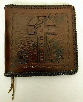 Vintage Hand Tooled Leather Prayer Book Cover with Praying Hands Cross Monograms