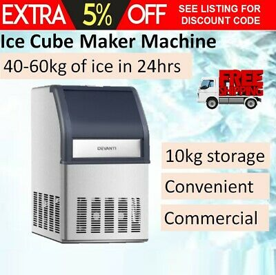 Auto Ice Cube Maker Commercial Machine LED 40-60kg 24Hr Party Function Fast NEW