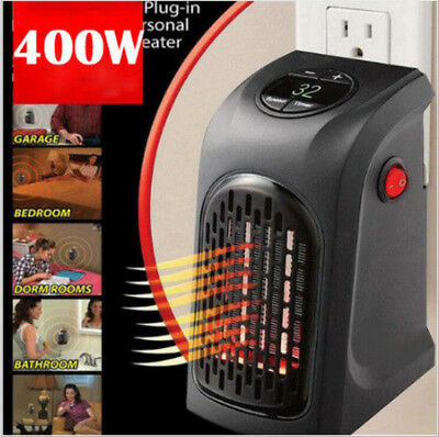 400W 220-240V Mini Furnace Portable Plug-in Electric Wall-outlet Space Heater DC