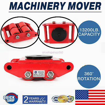 6T 13200lb Heavy Duty Machine Dolly Skate 4-Roller Machinery Mover 360° Rotation