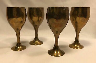 Set of 4 Brass Cordial Stemware Made in India Miniature Wine Goblets