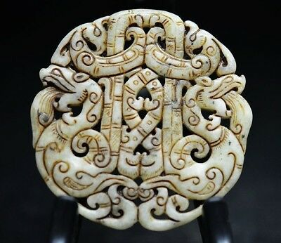 Exquisite Chinese old jade Carved Two-sided *dragon/phoenix* pendant   c04