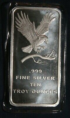 One (1) Silvertowne 10 Troy Oz Bar 0.999 Fine Silver Bar Sealed Lot 120853