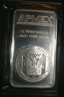One (1) Apmex 10 Troy Oz Bar 0.999+ Fine Silver Bar Sealed Lot 120902