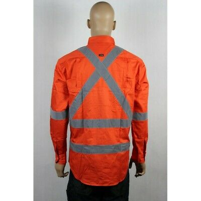 RAIL work shirt X back reflective tape compliant Aust. Rail workers L/S vents