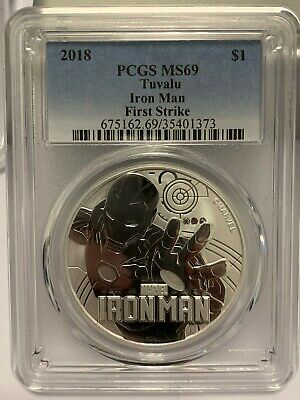 2018 Tuvalu Iron Man 1oz Silver Coin PCGS MS69 - First Strike Blue Label