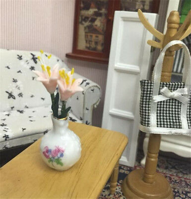 1:12 Dollhouse Miniature Furniture Room Accessories 1 Vase + 2 Lily Flower Set A