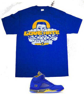 New FNLY94  Yellow Love Hate Raheem shirt Jordan 5 Retro JSP Laney Varsity Royal