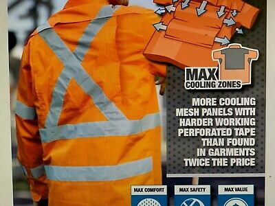 3 x RAIL work shirt X back reflective tape compliant Australia Rail COOL vents