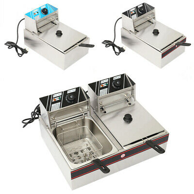 Large 12L Commercial Fryer Electric Twin Basket Double Tank Fish Chips 5000W New