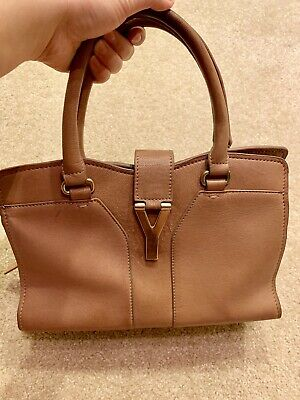 b7c1dedcad3c YSL YVES SAINT LAURENT Classic Y Buckle Cabas Tote Handbag Bag Camel Leather