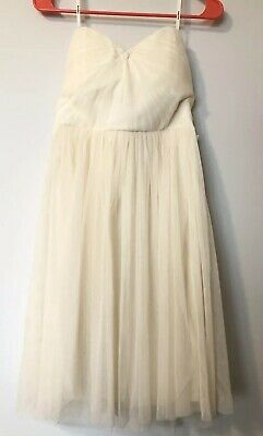 fe921ea8fe OFF WHITE CREAM Strapless Tweed Boucle Poms Dot Sequin Two Tiered ...