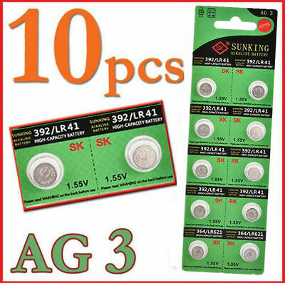 LR41 192 AG3 SG3 392 1.55v Alkaline Button Coin Cell Batteries 10pcs Wholesale