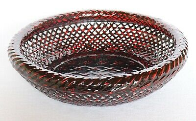 Japanese Bamboo Basket Bowl Wood Woven Lacquer Red Black Rantai Shikki Vintage