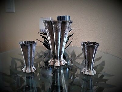 Beautiful Set Of 3 Antique Persian Esfahan Isfahan Solid Silver Vases