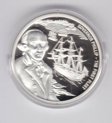 2016 $1 Cook Islands Silver Coin Governor Phillip The First Fleet ship  F-102