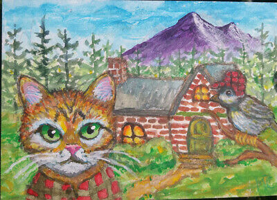 Aceo Original Art Cat Bird Cabin Forest Trees Mountain Painting