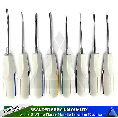 Dental Surgical Luxating Root Extracting Luxation Elevators White Plastic Handle