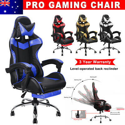 Adjustable Gaming Computer Chair Office Racer Seating Racing PU Leather Footrest