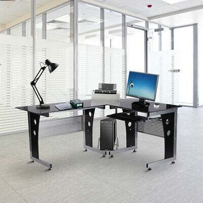 Stylish PC Study Table Office Desk Corner L-Shape Computer Gaming Tempered Glass