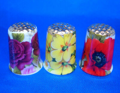 Fine Porcelain China Thimbles - Set Of Three  Vibrant Flowers Gold Top