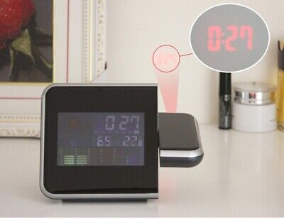 Projection Digital Alarm Clock Snooze Weather Thermometer LCD Color LED Display