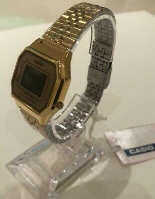 Gold CASIO Retro Classic Slim Unisex Digital Steel Bracelet Watch-A168WA-1YES