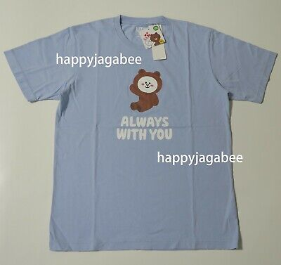 59b369187 UNIQLO 2019 Men LINE FRIENDS Graphic Tee BLU Brown ALWAYS WITH YOU NEW  418141002