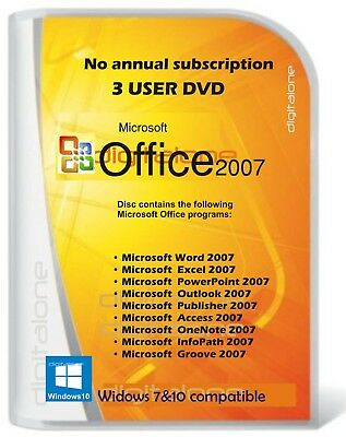 Microsoft Office 2007 for Windows 7 &10 Word,Excel,Power Point etc.. 3 PC user