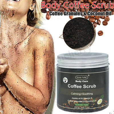 200ml Coffee Body Scrub Natural Coconut Oil Exfoliating Whitening Moisturiz