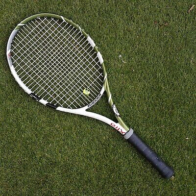 e1afc8a900cc Babolat XS 102 Tennis Racket White and Green Gold 4 1 2 Grip Extra Sweet