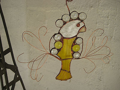 suncatcher - glass bird - stained glass-sky blue/ clear OR streaked yellow/clear