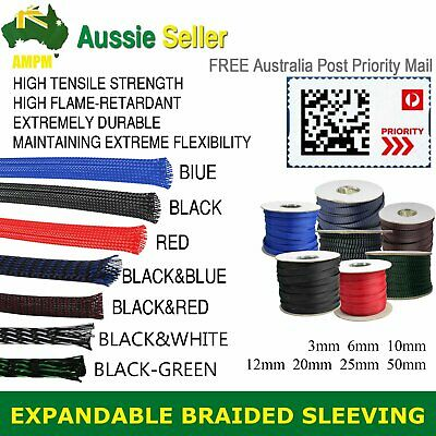 3Weave Expandable Braided Sleeve Cable Sleeving Wire Wrap Protect All Color&Size