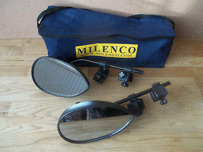 MILENCO Pair of Flat Towing Mirrors with storage bag (B447)