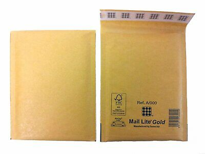 3500X A/000 Mail Lite / Lites Padded Envelopes Mailing Bags Gold Brown Job Lot