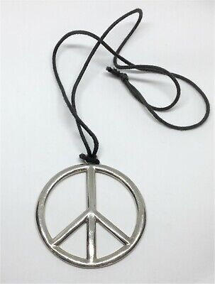 Large Silver Metal Peace Sign Symbol Pendant Long Black Cord Chain Necklace