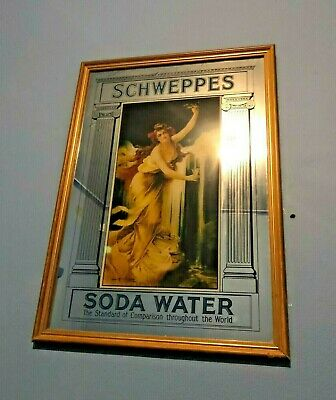Vintage Schweppes Soda Water Large Bar Mirror Wooden Frame