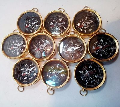 Set Of 10 Pcs Maritime Nautical Vintage Style Brass Pocket Compass Key Chains