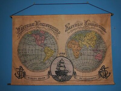 Decorative Western / Eastern Hemisphere Canvas Cloth 1892 World Map By Commodity