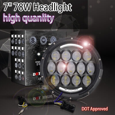 1PC 7Inch 78w LED Car Headlight W/ DRL 6000K High Low for Harley,Jeep Wrangler